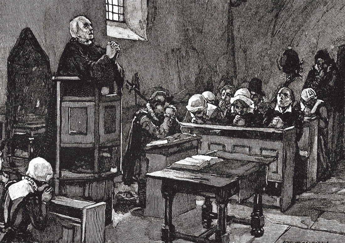 Sketch of colonial church service